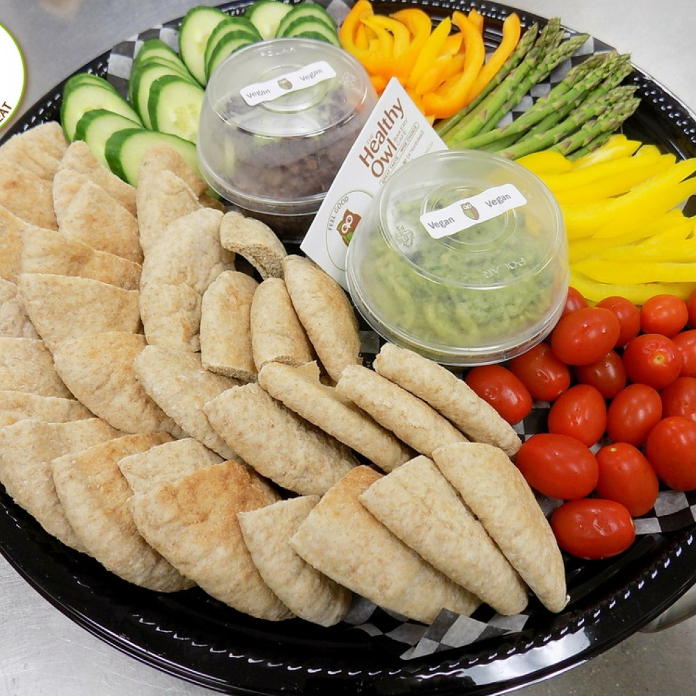 Healthy Owl Light Snack Tray - Pita & Vegetables with Dip