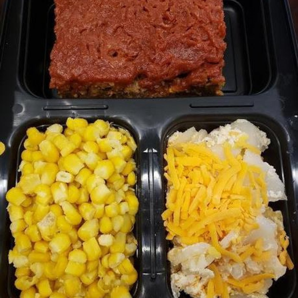 Homemade Cheesy Scalloped Potato and Meat Loaf Meal